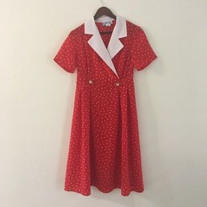 Vintage res&white polka dot dress